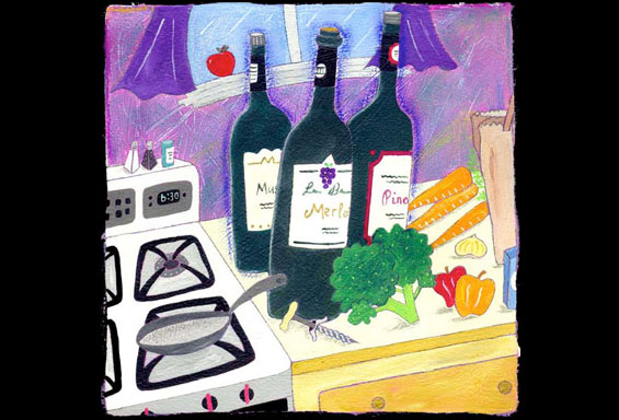 Cooking with Wine Illustration