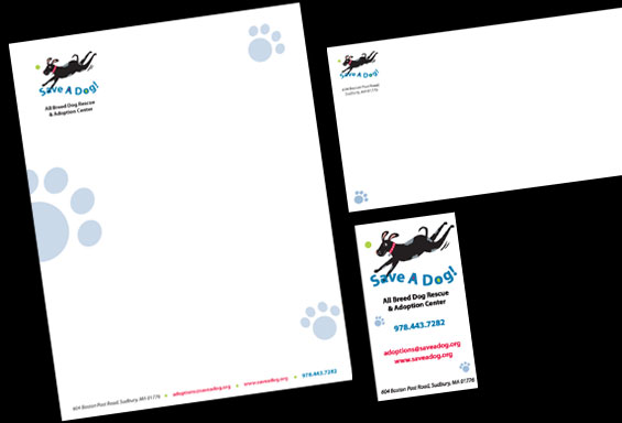Save A Dog Letterhead, Envelope and Business Card